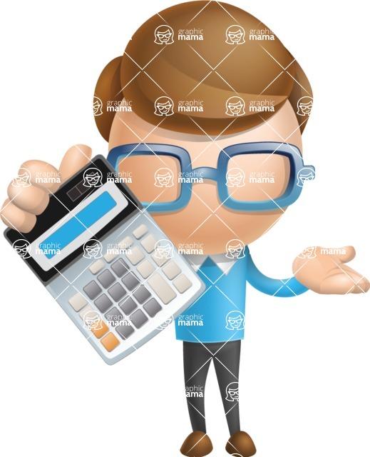 Simple Businessman Vector 3D Cartoon Character AKA Nerdy - Calculator