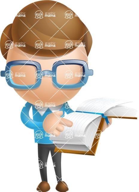 Simple Businessman Vector 3D Cartoon Character AKA Nerdy - Book 1