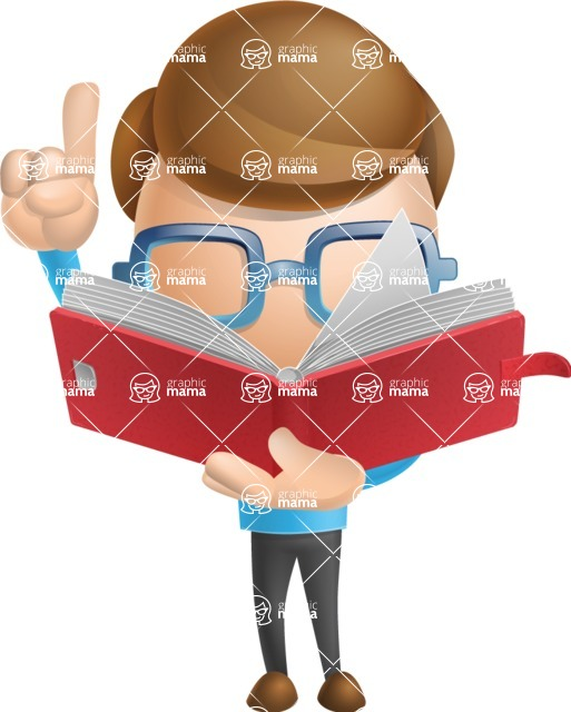 Simple Businessman Vector 3D Cartoon Character AKA Nerdy - Book 2