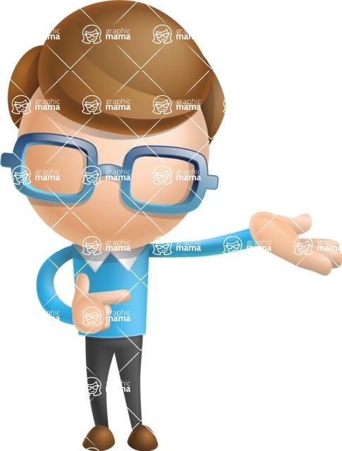 Simple Businessman Vector 3D Cartoon Character AKA Nerdy - Showcase