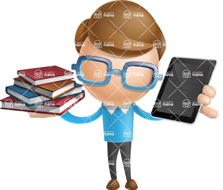 Simple Businessman Vector 3D Cartoon Character AKA Nerdy - Book and iPad