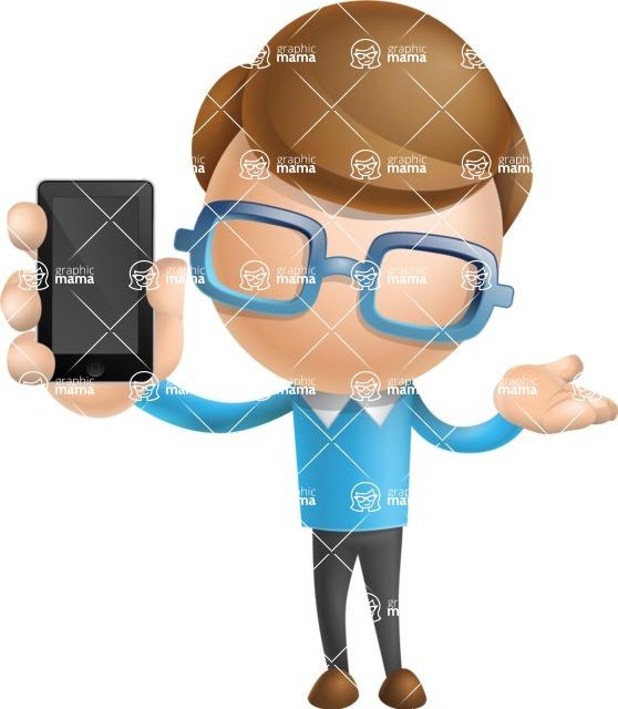 Simple Businessman Vector 3D Cartoon Character AKA Nerdy - iPhone