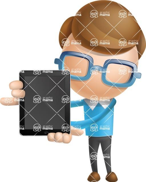 Simple Businessman Vector 3D Cartoon Character AKA Nerdy - iPad 1