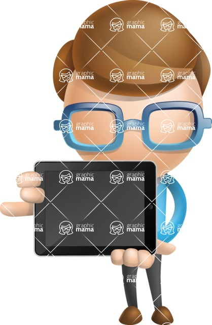 Simple Businessman Vector 3D Cartoon Character AKA Nerdy - iPad 2