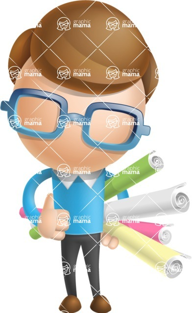 Simple Businessman Vector 3D Cartoon Character AKA Nerdy - Papers