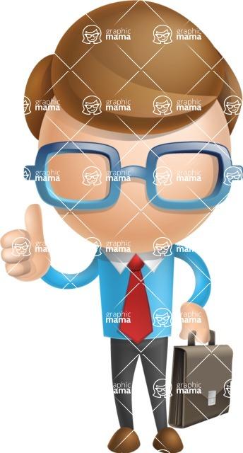 Simple Businessman Vector 3D Cartoon Character AKA Nerdy - Businessman