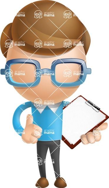 Simple Businessman Vector 3D Cartoon Character AKA Nerdy - Notepad 2