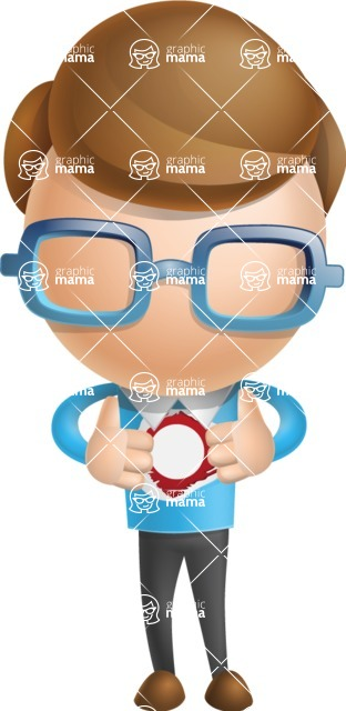 Simple Businessman Vector 3D Cartoon Character AKA Nerdy - Superman