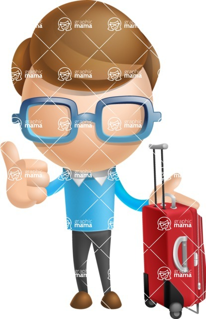 Simple Businessman Vector 3D Cartoon Character AKA Nerdy - Travel