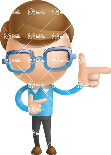 Simple Businessman Vector 3D Cartoon Character AKA Nerdy - Point