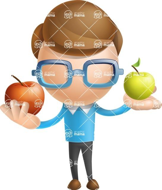 Simple Businessman Vector 3D Cartoon Character AKA Nerdy - Apples