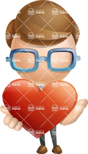 Simple Businessman Vector 3D Cartoon Character AKA Nerdy - Love