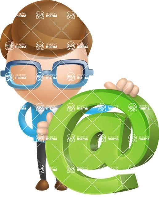 Simple Businessman Vector 3D Cartoon Character AKA Nerdy - Email