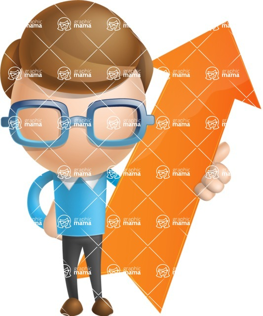 Simple Businessman Vector 3D Cartoon Character AKA Nerdy - Arrow 1