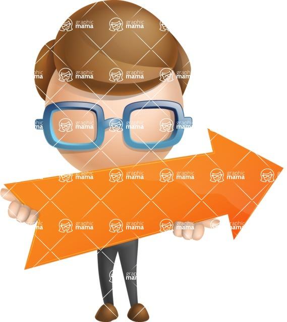 Simple Businessman Vector 3D Cartoon Character AKA Nerdy - Arrow 2