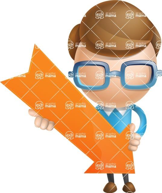 Simple Businessman Vector 3D Cartoon Character AKA Nerdy - Arrow 3