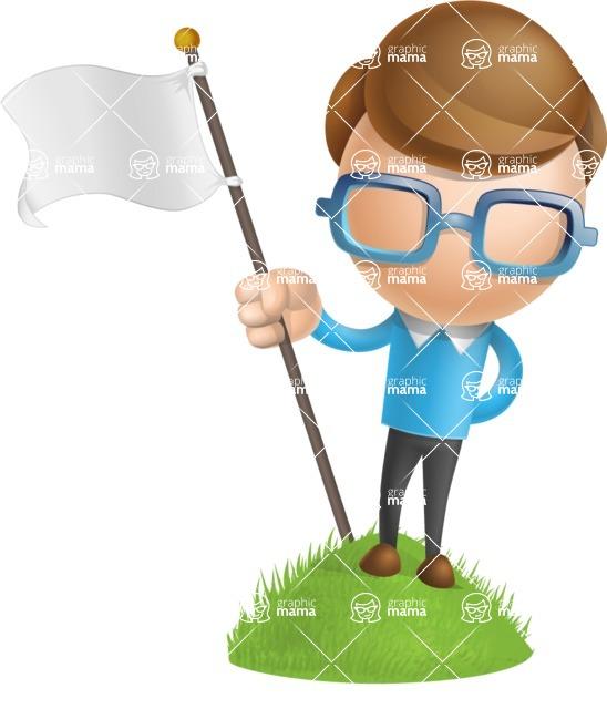 Simple Businessman Vector 3D Cartoon Character AKA Nerdy - On Top