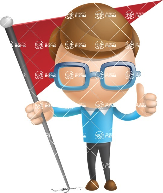 Simple Businessman Vector 3D Cartoon Character AKA Nerdy - Checkpoint