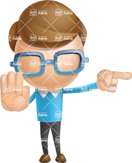 Simple Businessman Vector 3D Cartoon Character AKA Nerdy - Direct Attention