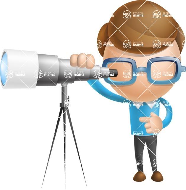 Simple Businessman Vector 3D Cartoon Character AKA Nerdy - Telescope