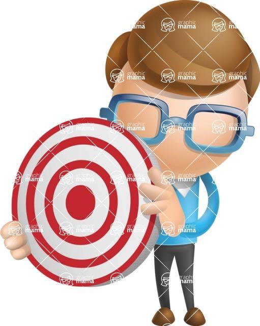 Simple Businessman Vector 3D Cartoon Character AKA Nerdy - Target
