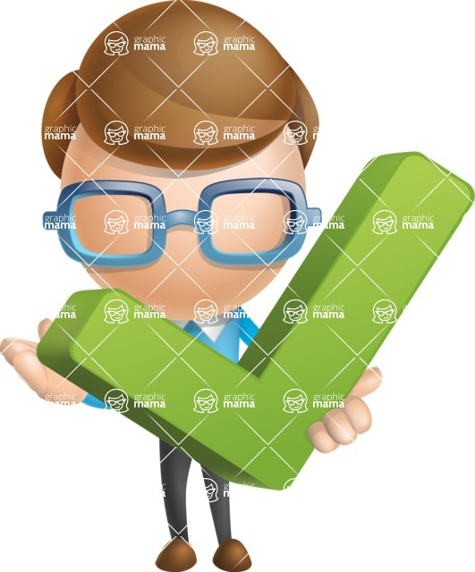 Simple Businessman Vector 3D Cartoon Character AKA Nerdy - Check