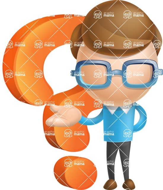 Simple Businessman Vector 3D Cartoon Character AKA Nerdy - Question