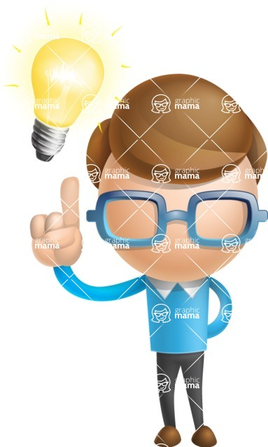 Simple Businessman Vector 3D Cartoon Character AKA Nerdy - Idea