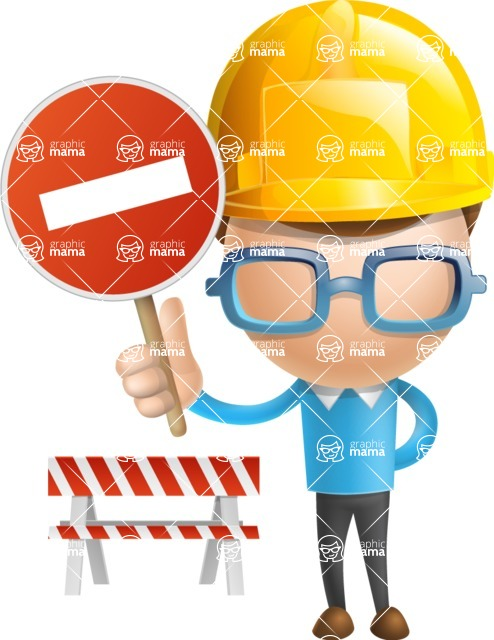 Simple Businessman Vector 3D Cartoon Character AKA Nerdy - Under Construction