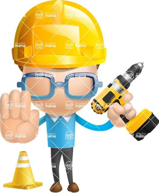 Simple Businessman Vector 3D Cartoon Character AKA Nerdy - Under Construction 2