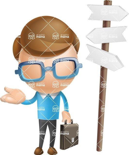 Simple Businessman Vector 3D Cartoon Character AKA Nerdy - Crossroad