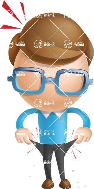 Simple Businessman Vector 3D Cartoon Character AKA Nerdy - No Money
