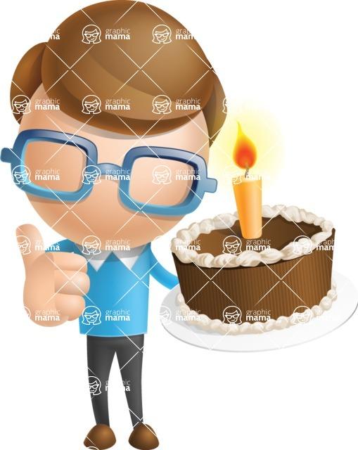 Simple Businessman Vector 3D Cartoon Character AKA Nerdy - Cake
