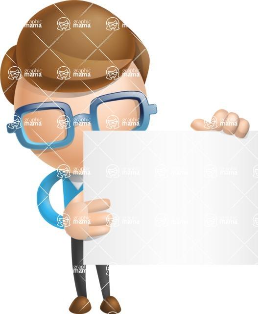 Simple Businessman Vector 3D Cartoon Character AKA Nerdy - Sign 2