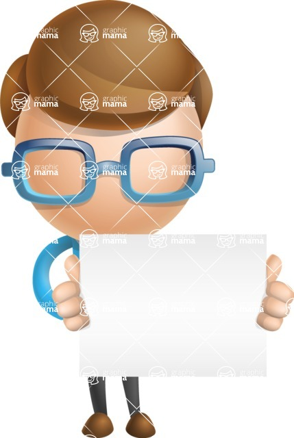 Simple Businessman Vector 3D Cartoon Character AKA Nerdy - Sign 4