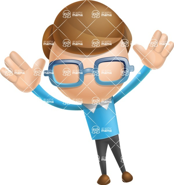 Simple Businessman Vector 3D Cartoon Character AKA Nerdy - Happy