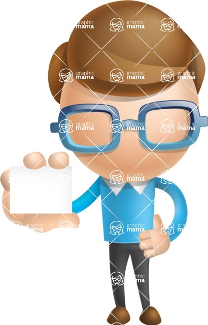 Simple Businessman Vector 3D Cartoon Character AKA Nerdy - Sign 5