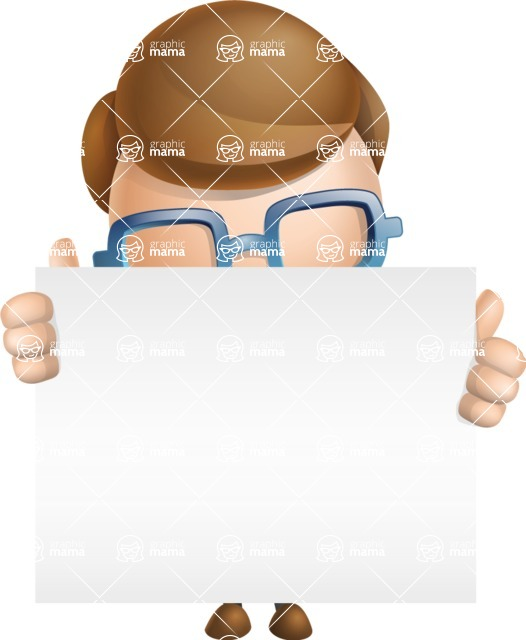 Simple Businessman Vector 3D Cartoon Character AKA Nerdy - Sign 6