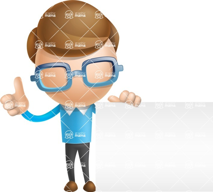Simple Businessman Vector 3D Cartoon Character AKA Nerdy - Sign 7