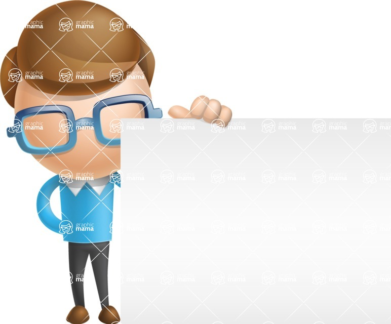 Simple Businessman Vector 3D Cartoon Character AKA Nerdy - Sign 8