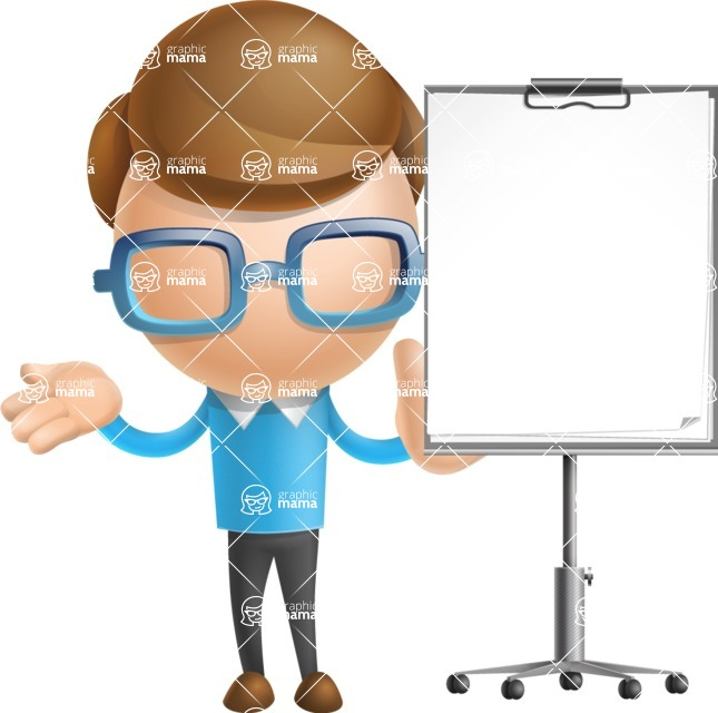 Simple Businessman Vector 3D Cartoon Character AKA Nerdy - Presentation 1