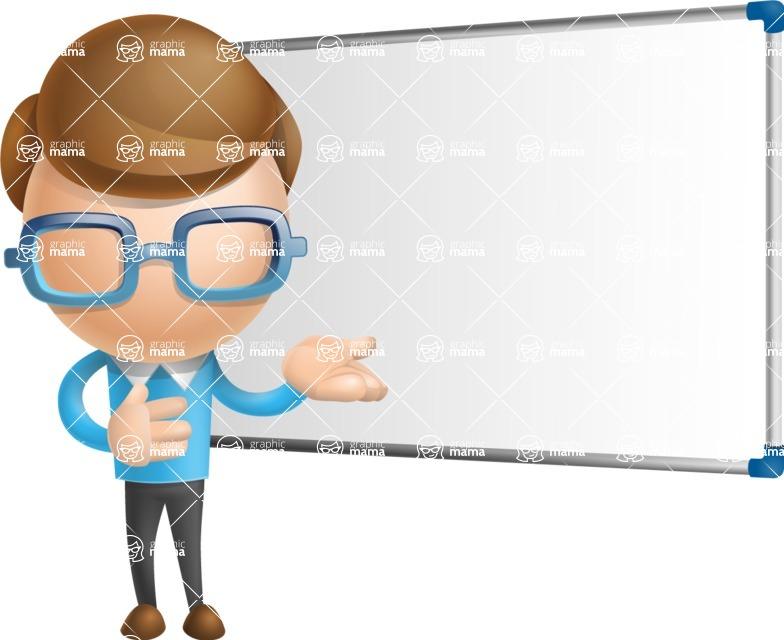 Simple Businessman Vector 3D Cartoon Character AKA Nerdy - Presentation 3