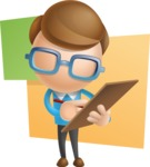 Simple Businessman Vector 3D Cartoon Character AKA Nerdy - Shape10