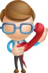 Simple Businessman Vector 3D Cartoon Character AKA Nerdy - Phone