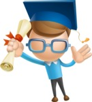 Simple Businessman Vector 3D Cartoon Character AKA Nerdy - Graduation