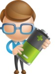 Simple Businessman Vector 3D Cartoon Character AKA Nerdy - Battery