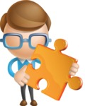 Simple Businessman Vector 3D Cartoon Character AKA Nerdy - Puzzle