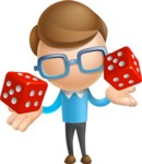 Simple Businessman Vector 3D Cartoon Character AKA Nerdy - Lucky