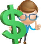 Simple Businessman Vector 3D Cartoon Character AKA Nerdy - Dollar