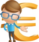Simple Businessman Vector 3D Cartoon Character AKA Nerdy - Euro